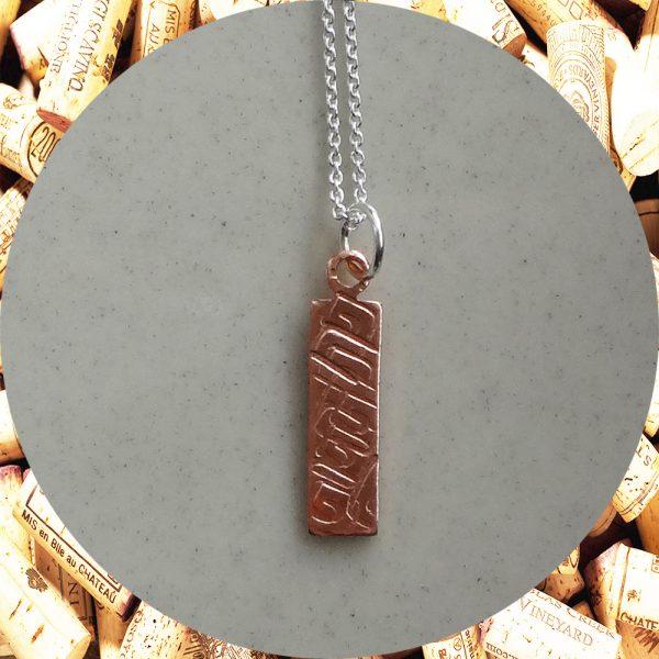 Small Rectangular Square Swirl Copper Pendant Necklace by Kimi Designs