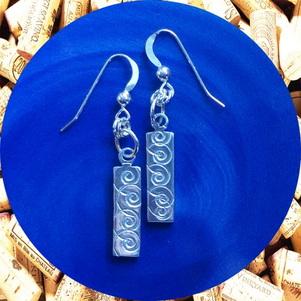 Small Rectangular Swirl Aluminum Earrings by Kimi Designs