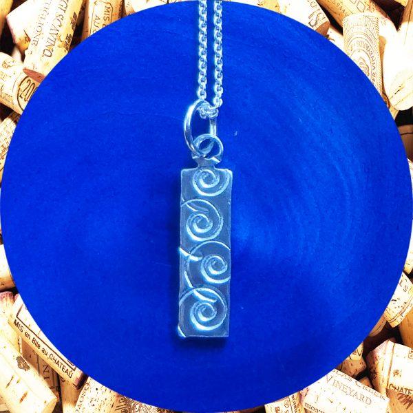 Small Rectangular Swirl Aluminum Pendant Necklace by Kimi Designs