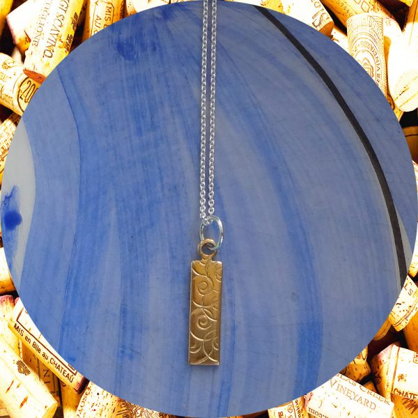 Small Rectangular Swirl Brass Pendant Necklace by Kimi Designs