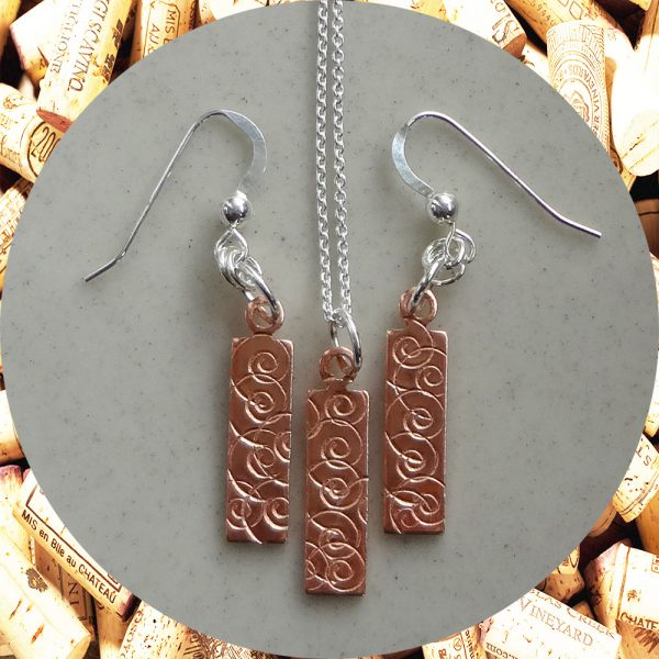 Small Rectangular Swirl Copper Earrings and Pendant Necklace Set by Kimi Designs