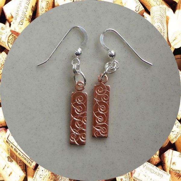 Small Rectangular Swirl Copper Earrings by Kimi Designs