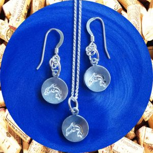 Small Round Dolphin Print Aluminum Earrings and Necklace Set by Kimi Designs