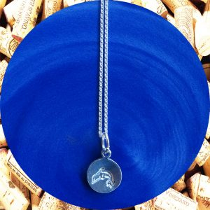 Small Round Dolphin Print Aluminum Pendant Necklace by Kimi Designs