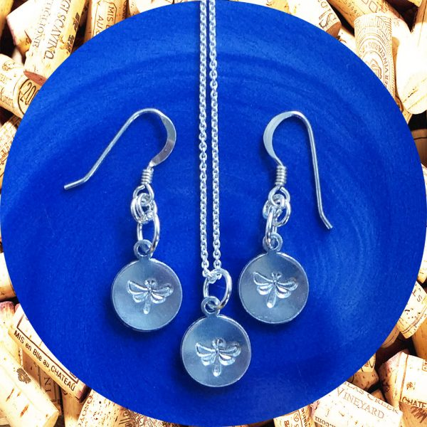 Small Round Dragonfly Earrings and Necklace Set by Kimi Designs