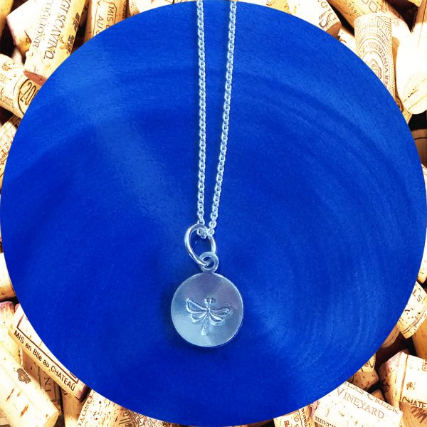 Small Round Dragonfly Print Aluminum Pendant Necklace by Kimi Designs
