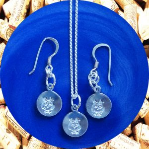 Small Round Owl Earrings and Necklace Set by Kimi Designs