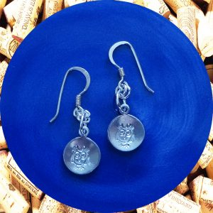 Small Round Owl Print Aluminum Earrings by Kimi Designs