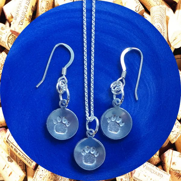 Small Round Paw Earrings and Necklace Set by Kimi Designs