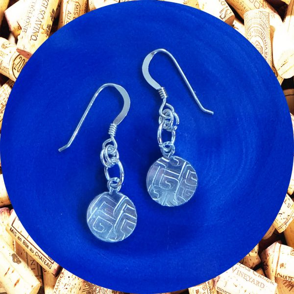 Small Round Square Swirl Aluminum Earrings by Kimi Designs