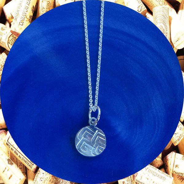 Small Round Square Swirl Aluminum Pendant Necklace by Kimi Designs