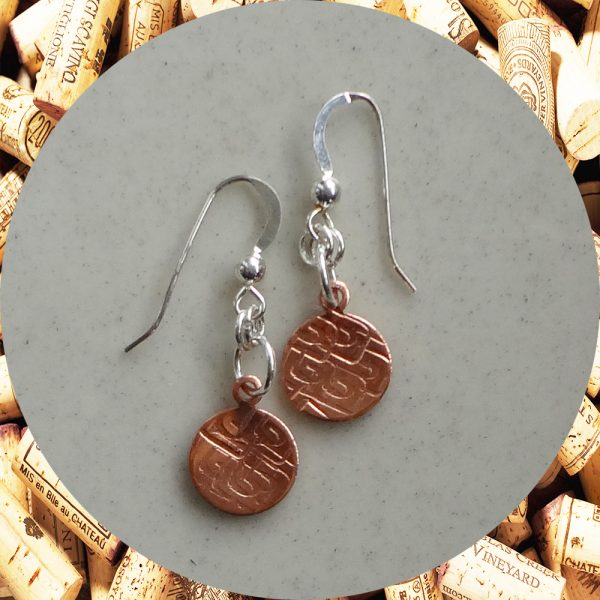 Small Round Square Swirl Copper Earrings by Kimi Designs