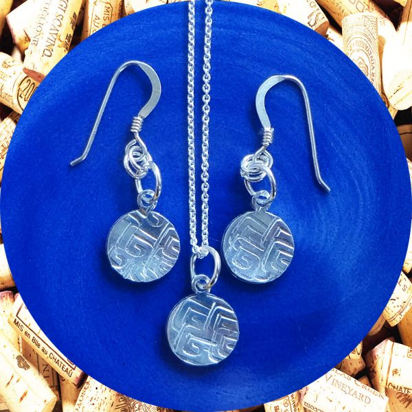 Small Round Square Swirl Earrings and Necklace Set by Kimi Designs