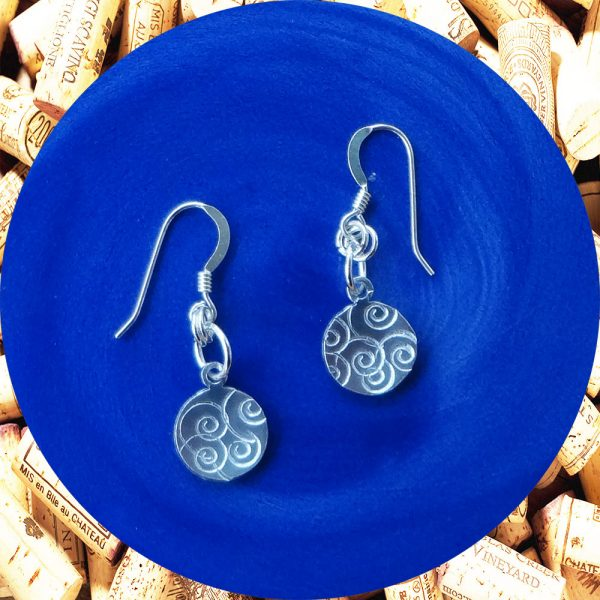 Small Round Swirl Aluminum Earrings by Kimi Designs