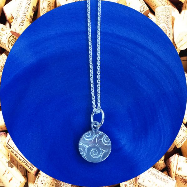 Small Round Swirl Aluminum Pendant Necklace by Kimi Designs