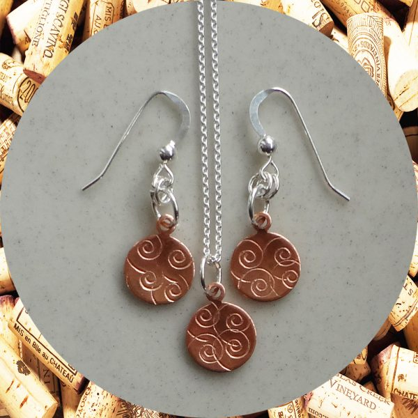 Small Round Swirl Copper Earrings and Necklace Set by Kimi Designs