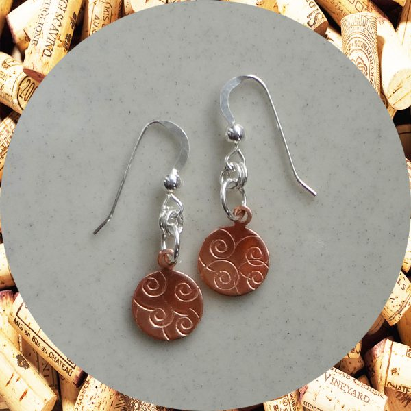 Small Round Swirl Copper Earrings by Kimi Designs
