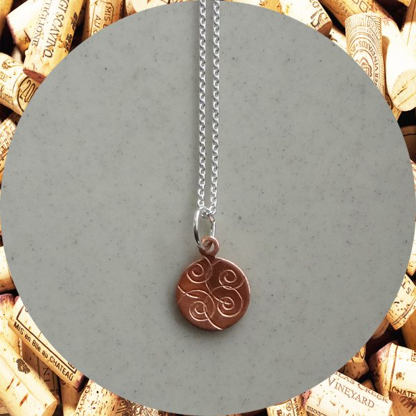 Small Round Swirl Copper Pendant Necklace by Kimi Designs