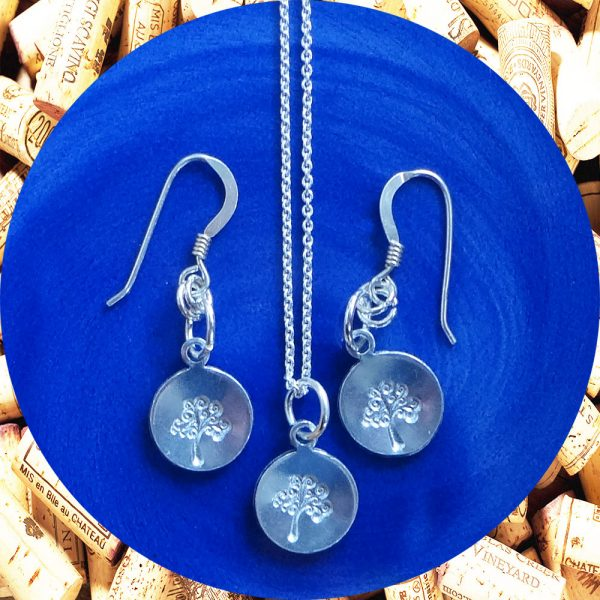 Small Round Tree of Life Earrings and Necklace Set by Kimi Designs