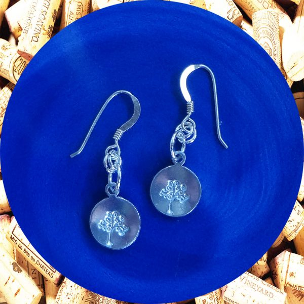 Small Round Tree of Life Print Aluminum Earrings by Kimi Designs