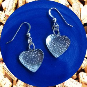 Small Square Swirl Aluminum Heart Earrings by Kimi Designs
