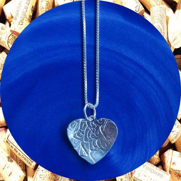 Small Square Swirl Heart Pendant Necklace by Kimi Designs