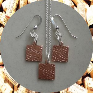 Small Square Swirl Square Copper Earrings and Pendant Necklace Set by Kimi Designs