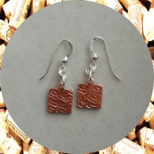 Small Square Swirl Square Copper Earrings by Kimi Designs