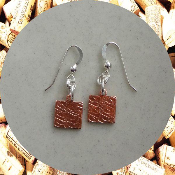 Small Square Swirl Square Copper Earrings by Kimi Designs