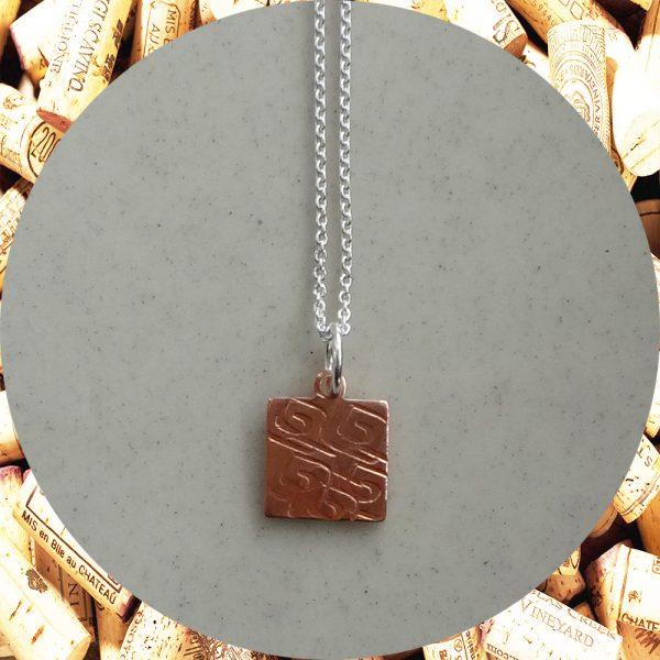 Small Square Swirl Square Copper Pendant Necklace by Kimi Designs