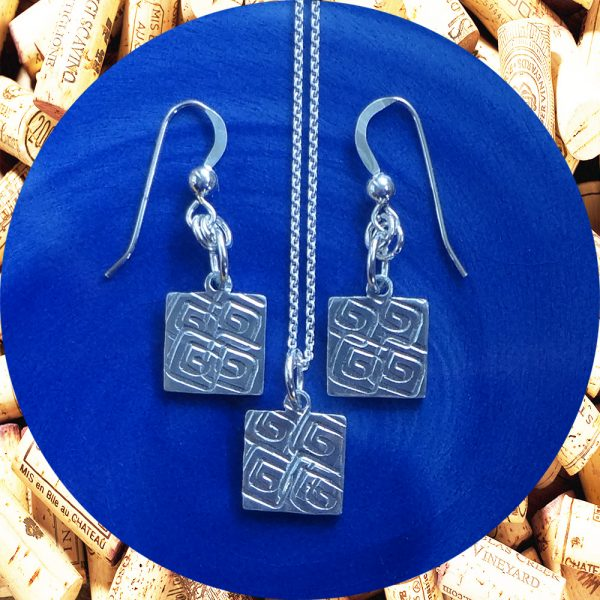 Small Square Swirl Square Earrings and Pendant Necklace Set by Kimi Designs