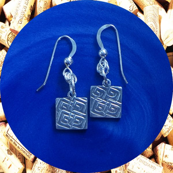 Small Square Swirl Square Earrings by Kimi Designs