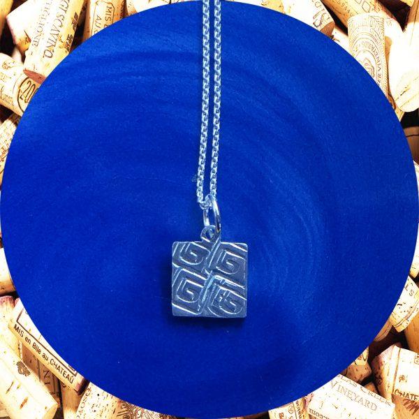 Small Square Swirl Square Pendant Necklace by Kimi Designs