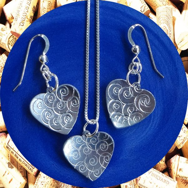 Small Swirl Aluminum Heart Earrings and Necklace Set by Kimi Designs