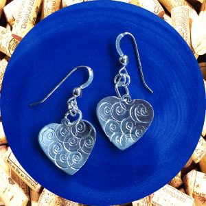 Small Swirl Aluminum Heart Earrings by Kimi Designs