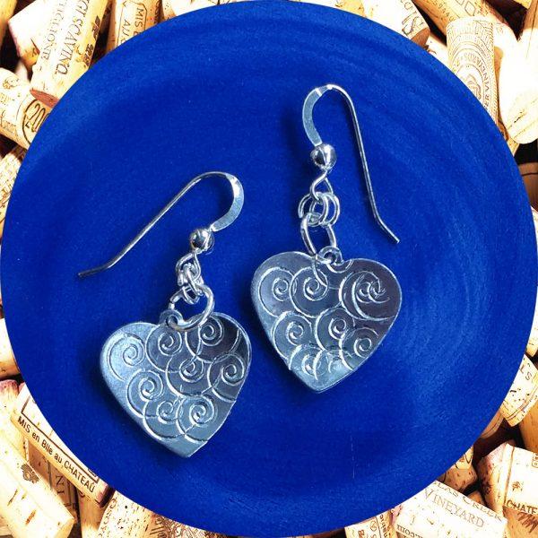 Small Swirl Aluminum Heart Earrings by Kimi Designs