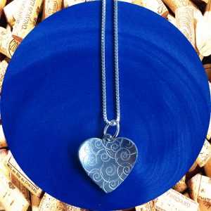 Small Swirl Heart Pendant Necklace by Kimi Designs