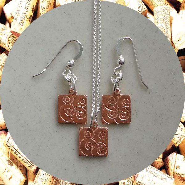 Small Swirl Square Copper Earrings and Pendant Necklace Set by Kimi Designs