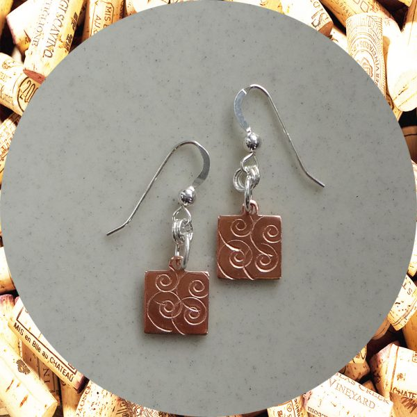 Small Swirl Square Copper Earrings by Kimi Designs