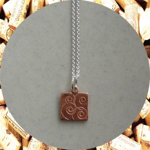 Small Swirl Square Copper Pendant Necklace by Kimi Designs