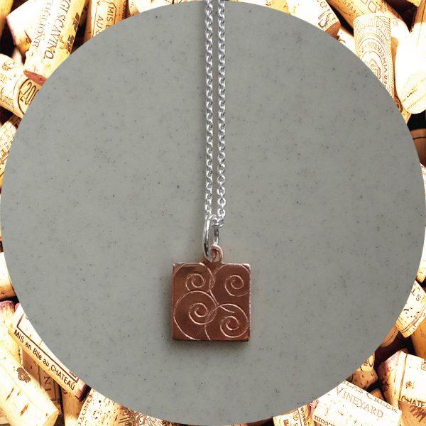 Small Swirl Square Copper Pendant Necklace by Kimi Designs