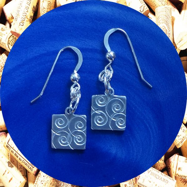 Small Swirl Square Earrings by Kimi Designs
