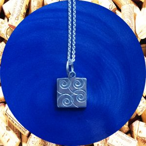 Small Swirl Square Pendant Necklace by Kimi Designs