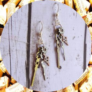 Small Tri-Metal Clock Hand Earrings Industrial Chic by Kimi Designs - Steampunk