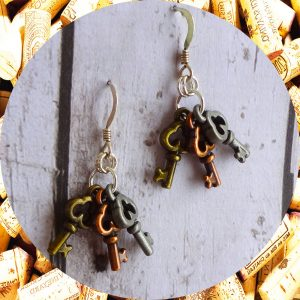 Small Tri-Metal Key Earrings Industrial Chic by Kimi Designs - Steampunk