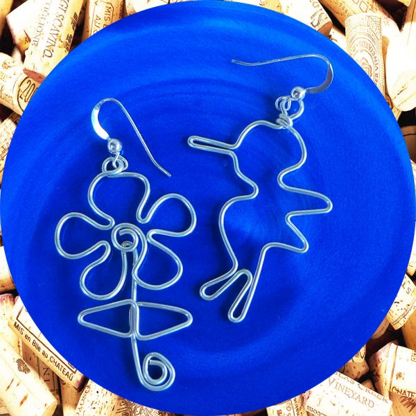 Sterling Silver Hummingbird and Flower Wire Earrings by Kimi Designs