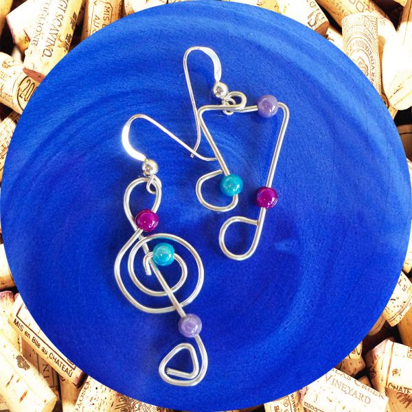 Sterling Silver Jazzy Notes Wire Earrings by Kimi Designs