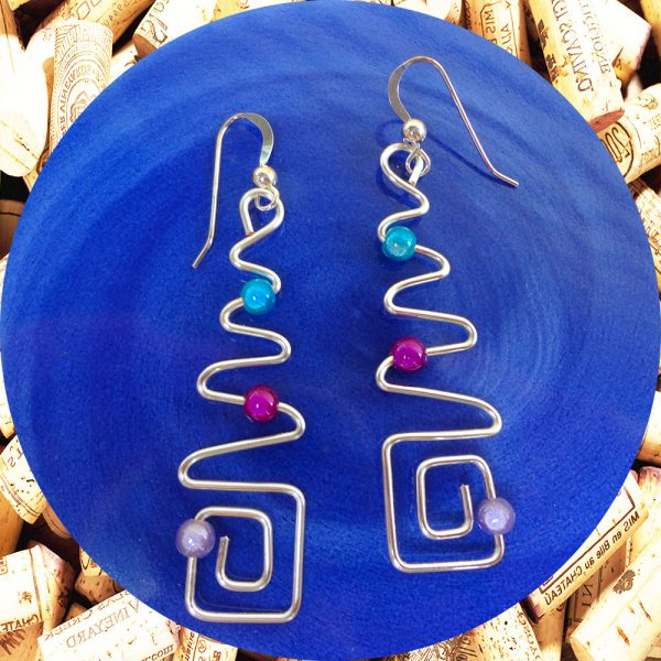 Sterling Silver Long Zig Zag Square Wire Earrings by Kimi Designs