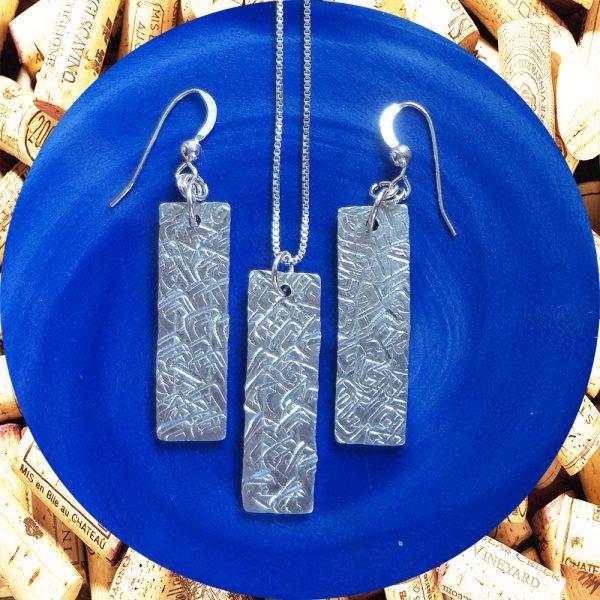 Wide Medium Rectangular Square Swirl Aluminum Earrings and Pendant Set by Kimi Designs