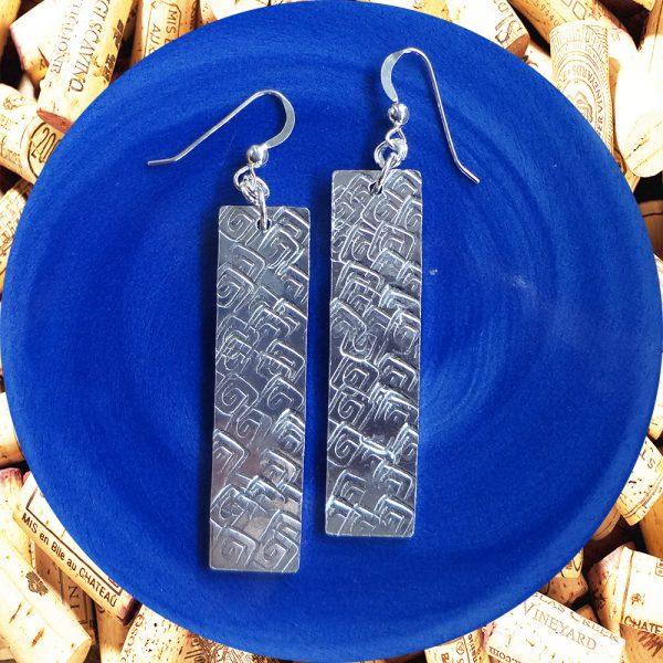 Wide Medium Rectangular Square Swirl Aluminum Earrings by Kimi Designs